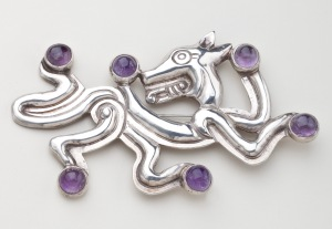Silver and Amethyst Jaguar Brooch by William Spratling